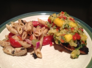 Mango Chicken shown with Atrichoke and Olive Pasta