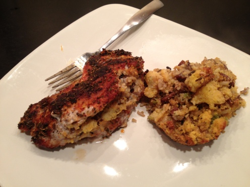 Stuffed Pork Chop with a Side of More Stuffing:)