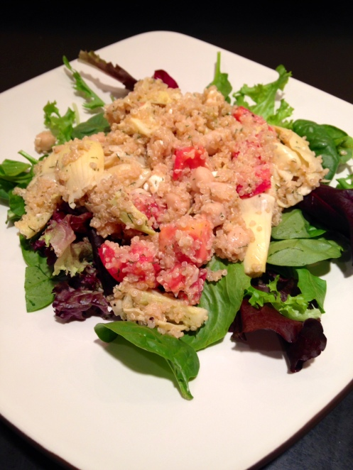 Quinoa Salad with Chickpeas & Artichoke Hearts