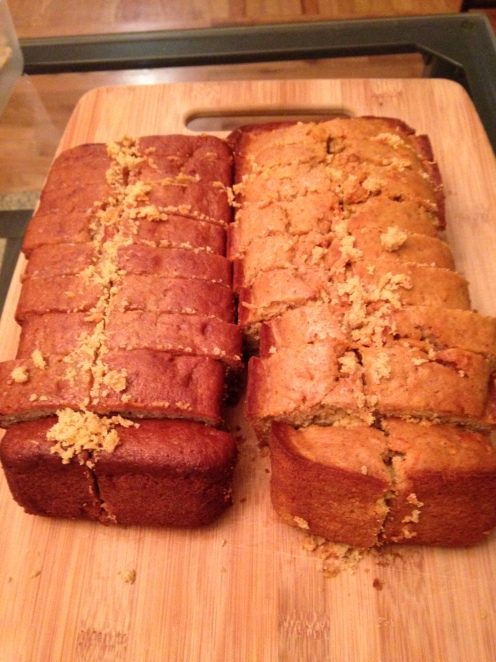 Banana Bread on the Left and Carrot Bread on the Right