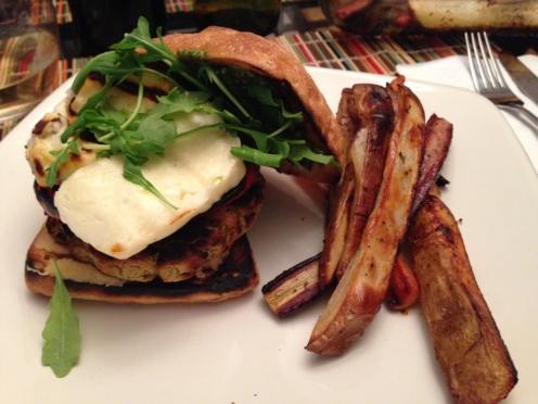 Grilled Falafel and Halloumi Burger with Roasted Carrot and Potato Side